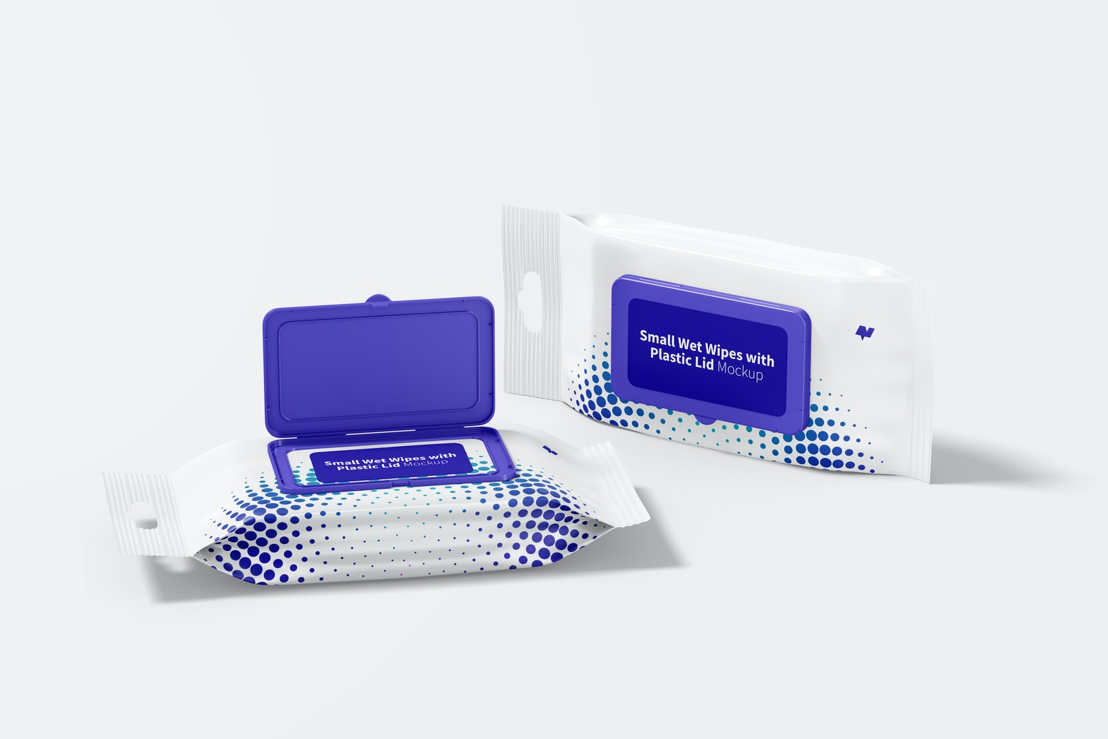 Small Wet Wipes with Plastic Lid Packaging Mockup, Opened and Closed