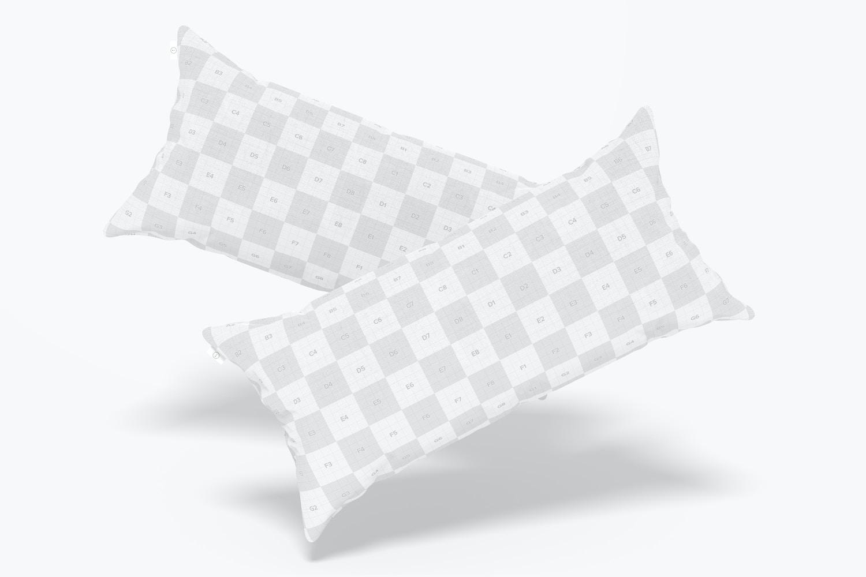 Long Rectangular Pillows Mockup, Falling