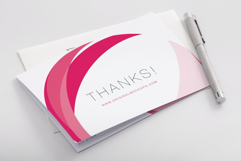 Bifold Thank You Card PSD Mockup 02