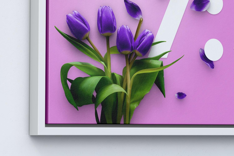7:5 Landscape Canvas Mockup in Floater Frame, Left View