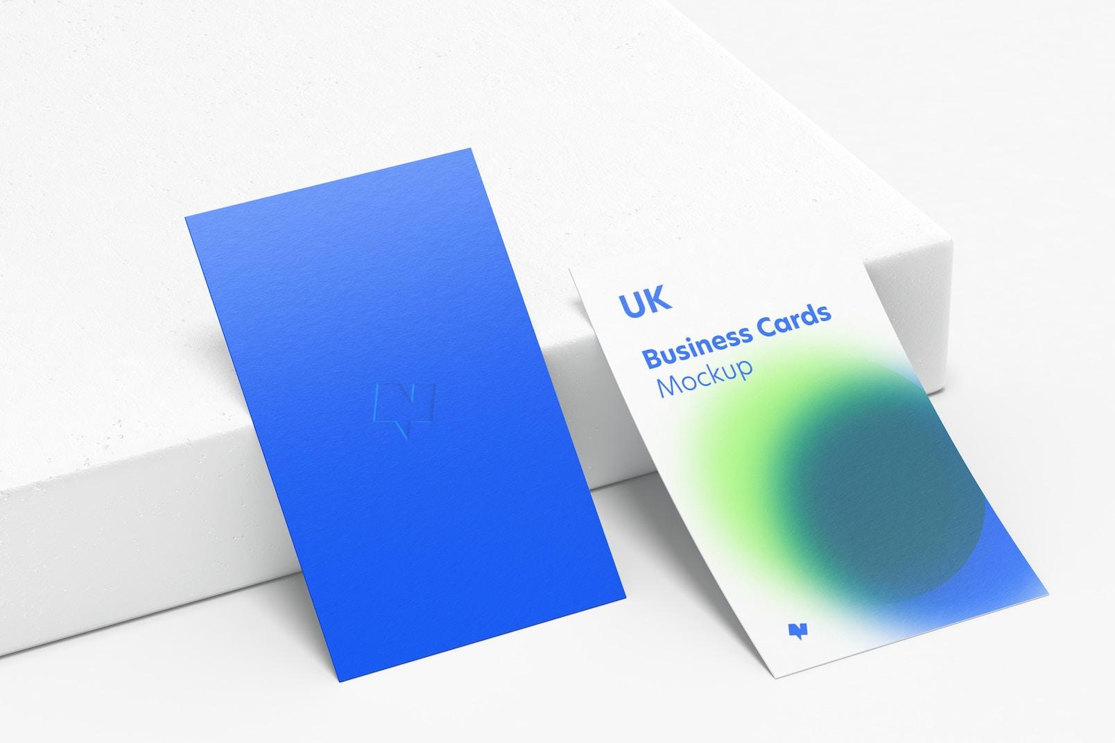 UK Portrait Business Cards Mockup