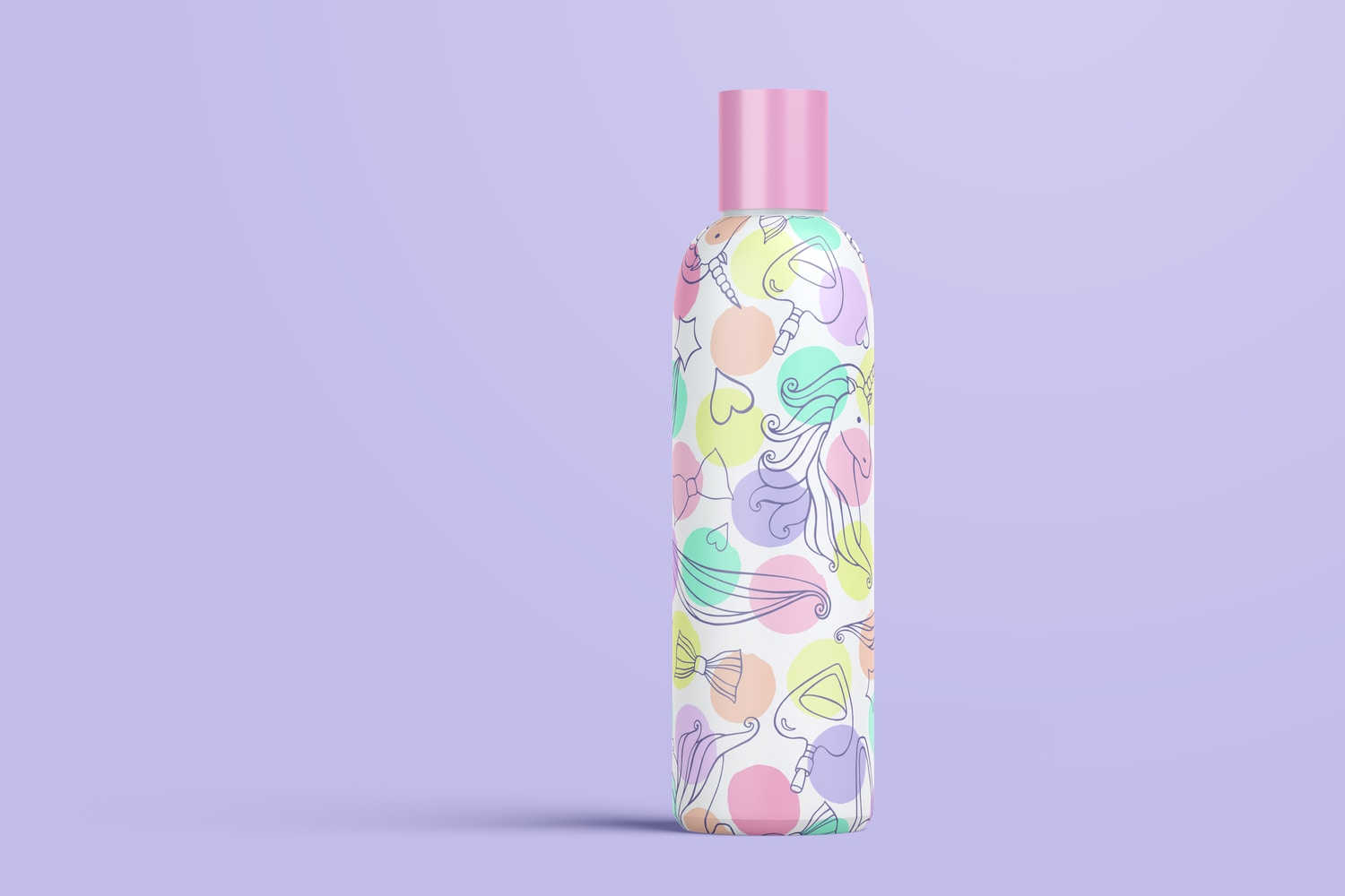 4 oz / 120 ml Cosmo Round Shape Cosmetic Bottle Mockup with Disc Cap in Front View 02