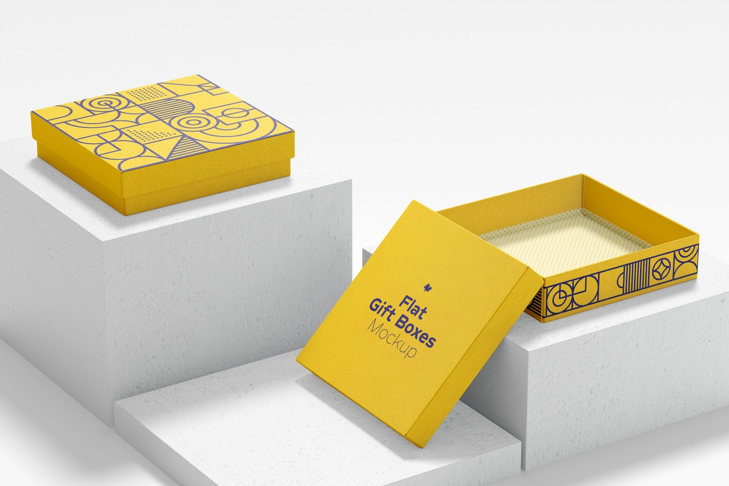 Flat Gift Boxes Mockup, Opened and Closed
