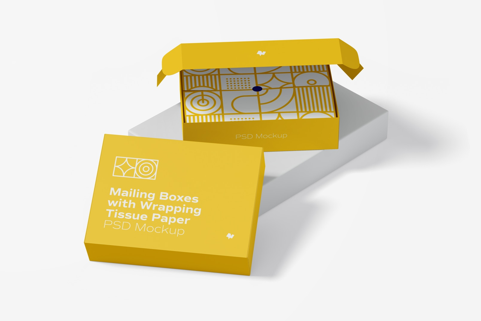 Mailing Boxes with Wrapping Tissue Paper Mockup