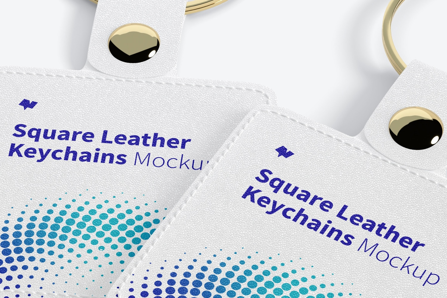 Square Leather Keychains Mockup, Perspective