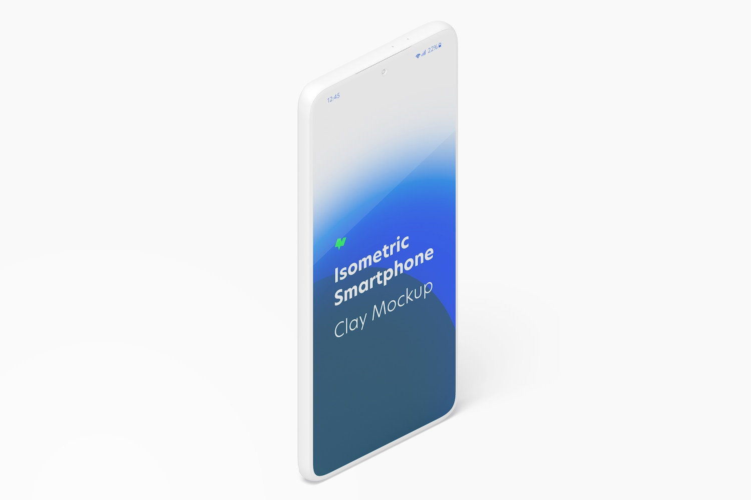 Isometric Clay Samsung S21 Mockup, Portrait Right View