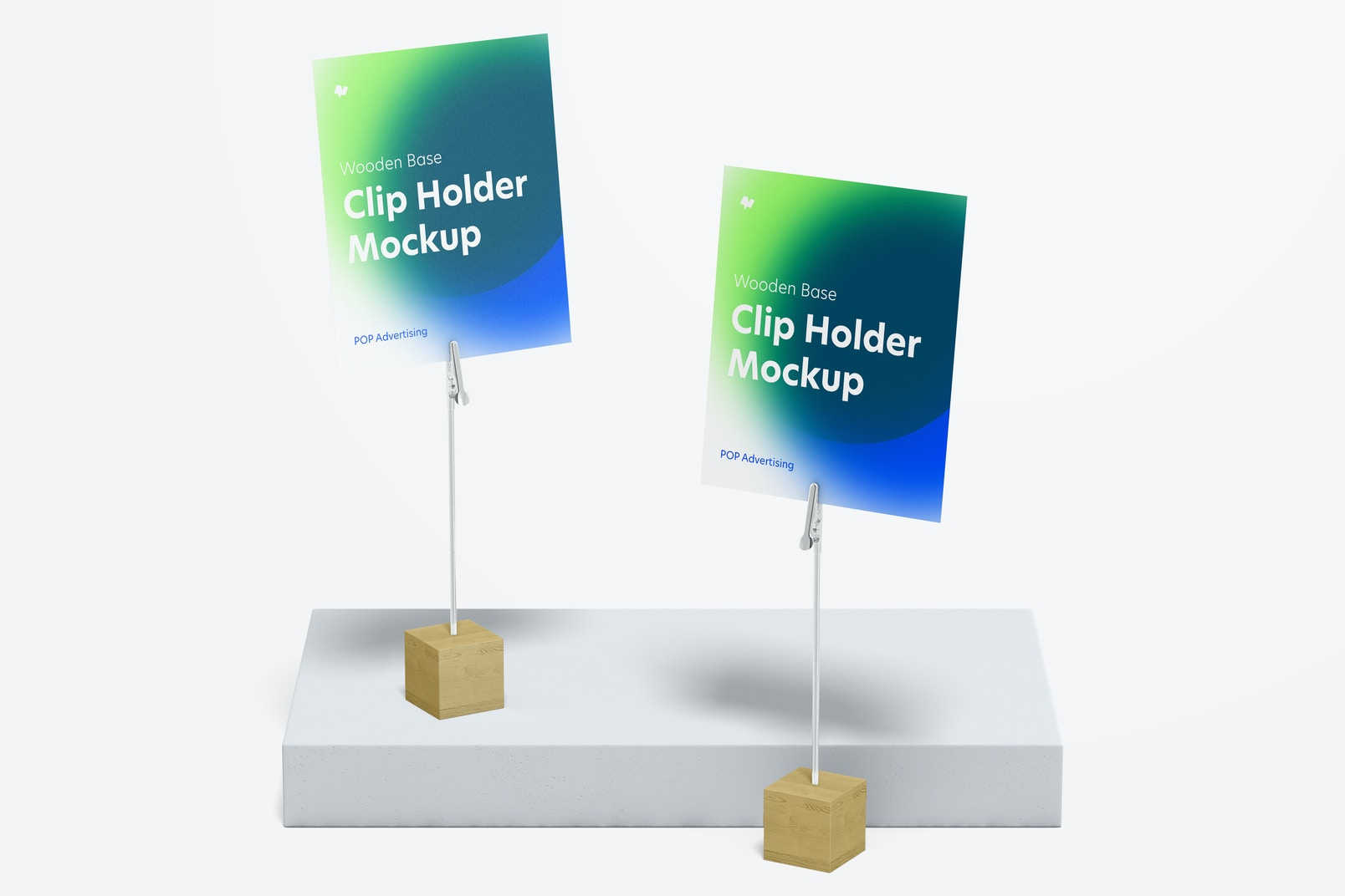 Wooden Base Photo Clip Holders Mockup, Front View