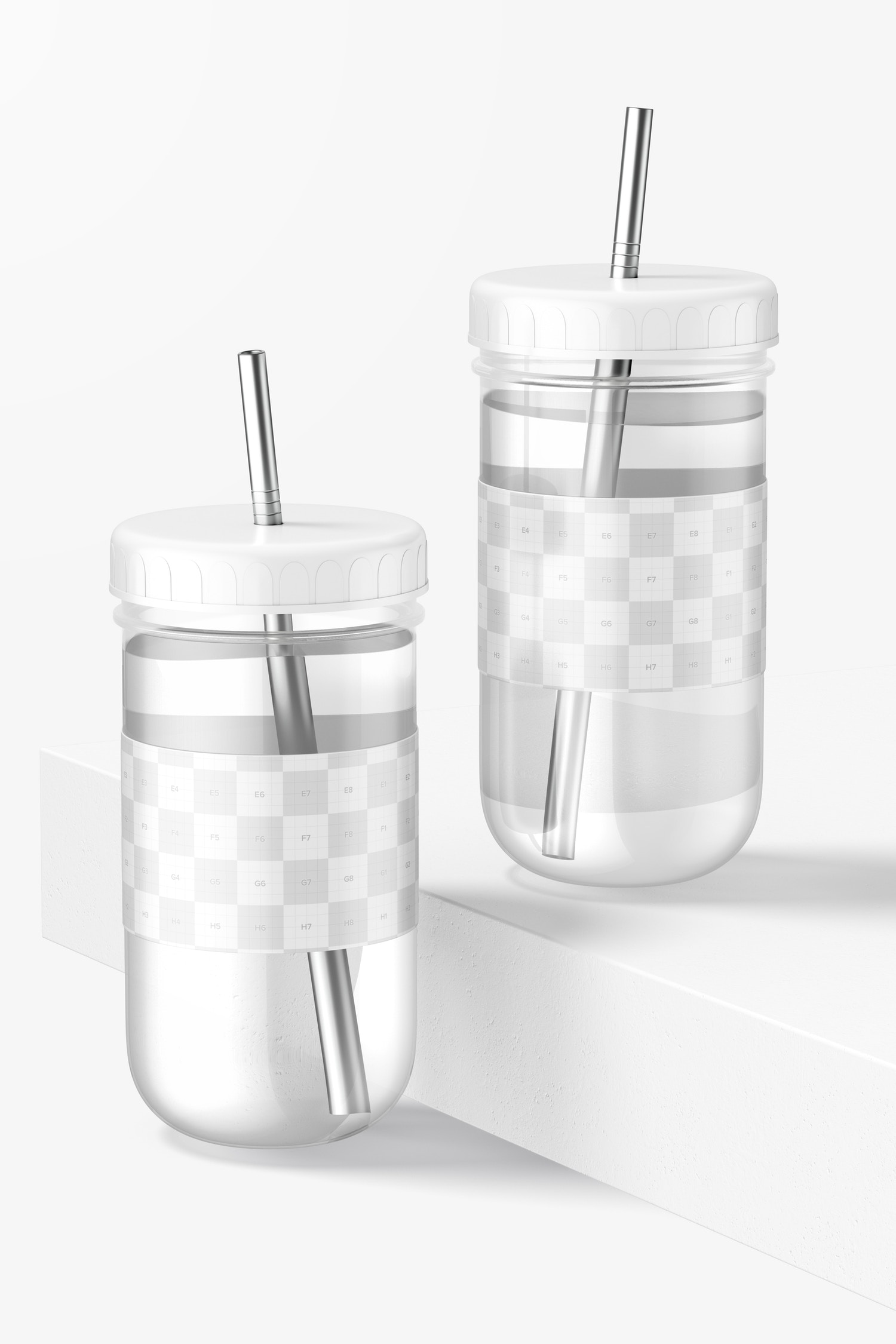 Smoothie Cups with Lid Mockup, Front View