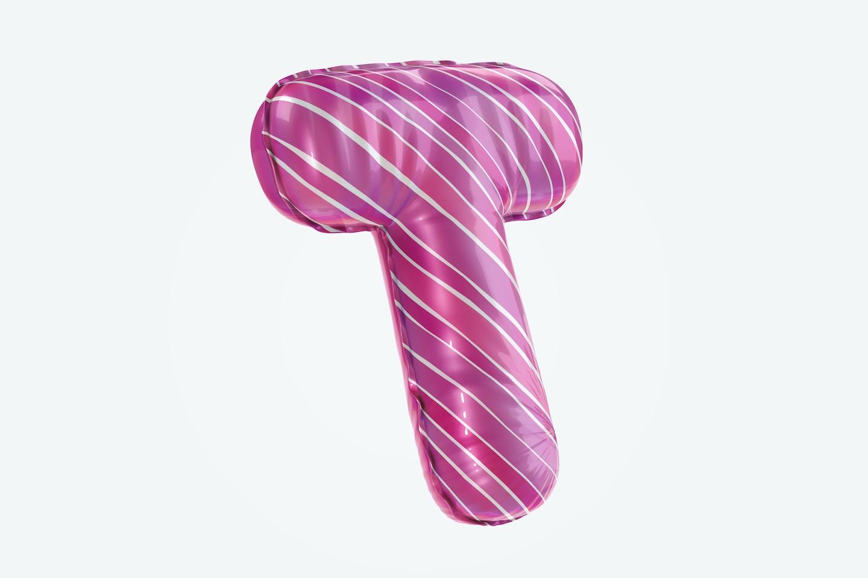 Letter T Foil Balloon Mockup