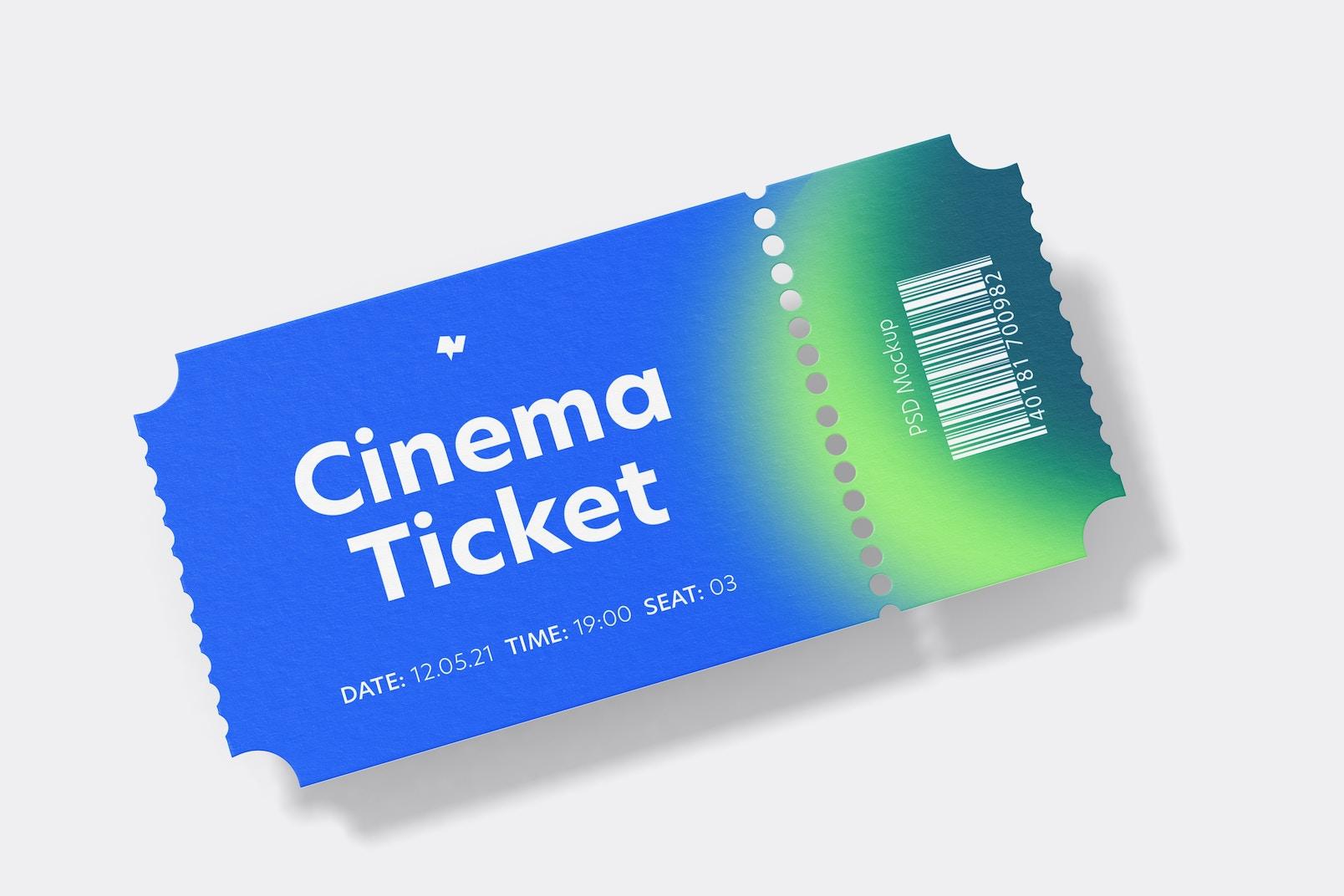 Cinema Ticket Mockup, Front View