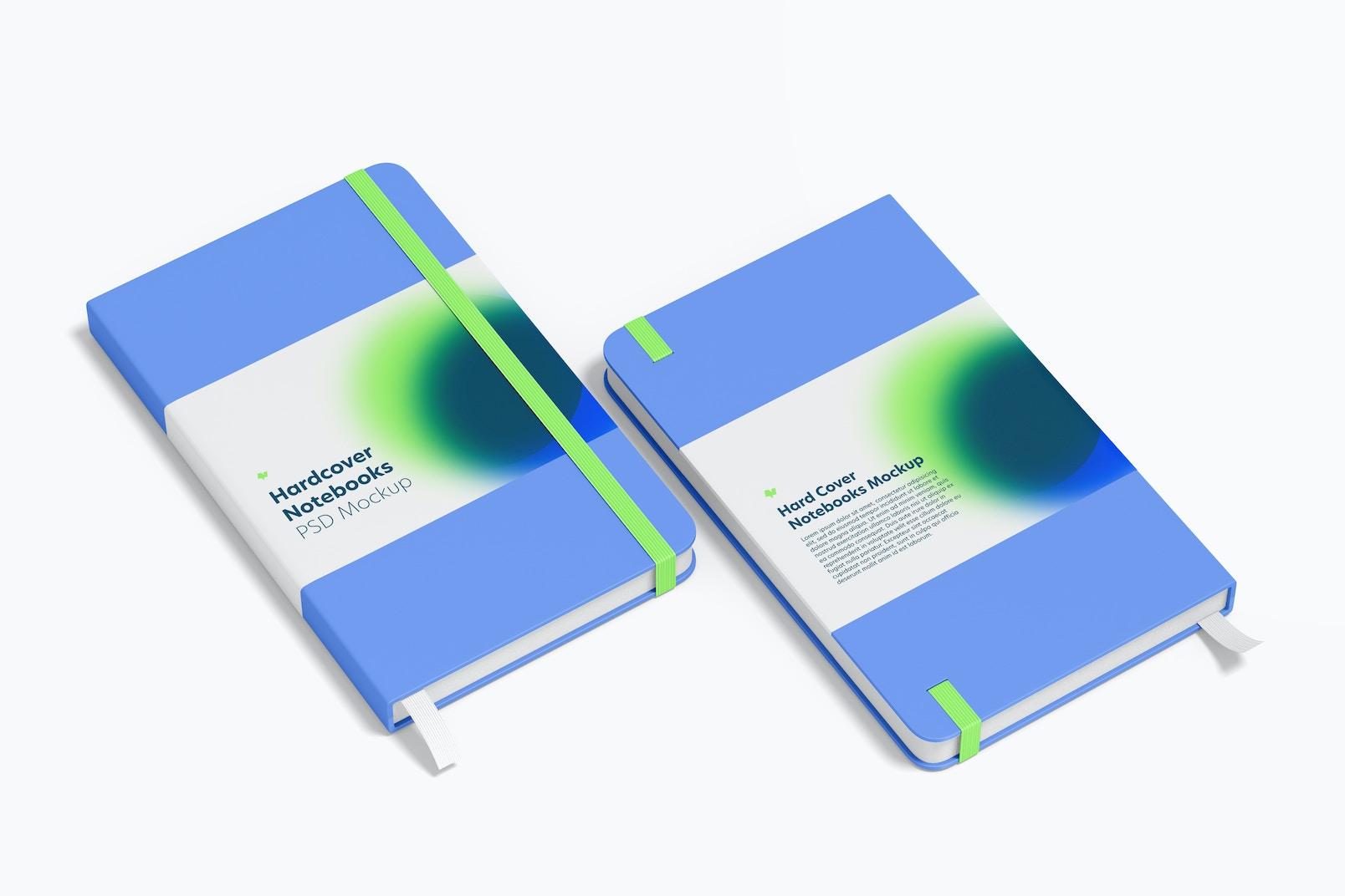 Hardcover Notebooks with Elastic Band Mockup