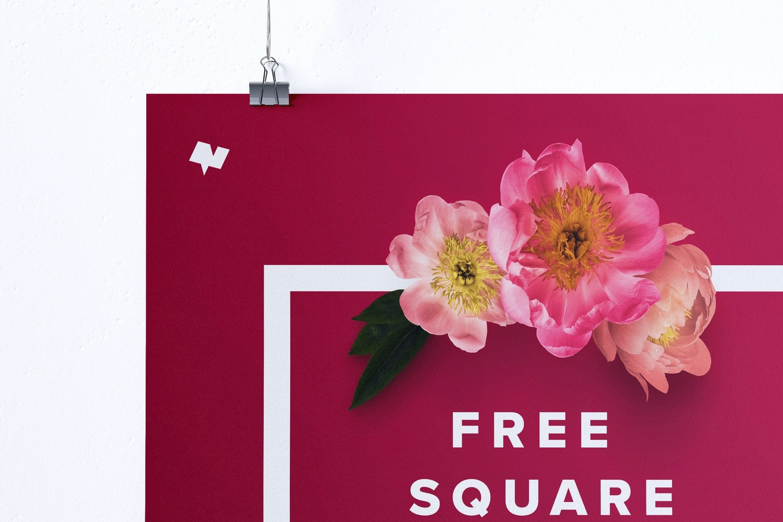 Free 1:1 Square Hanging Poster Mockup