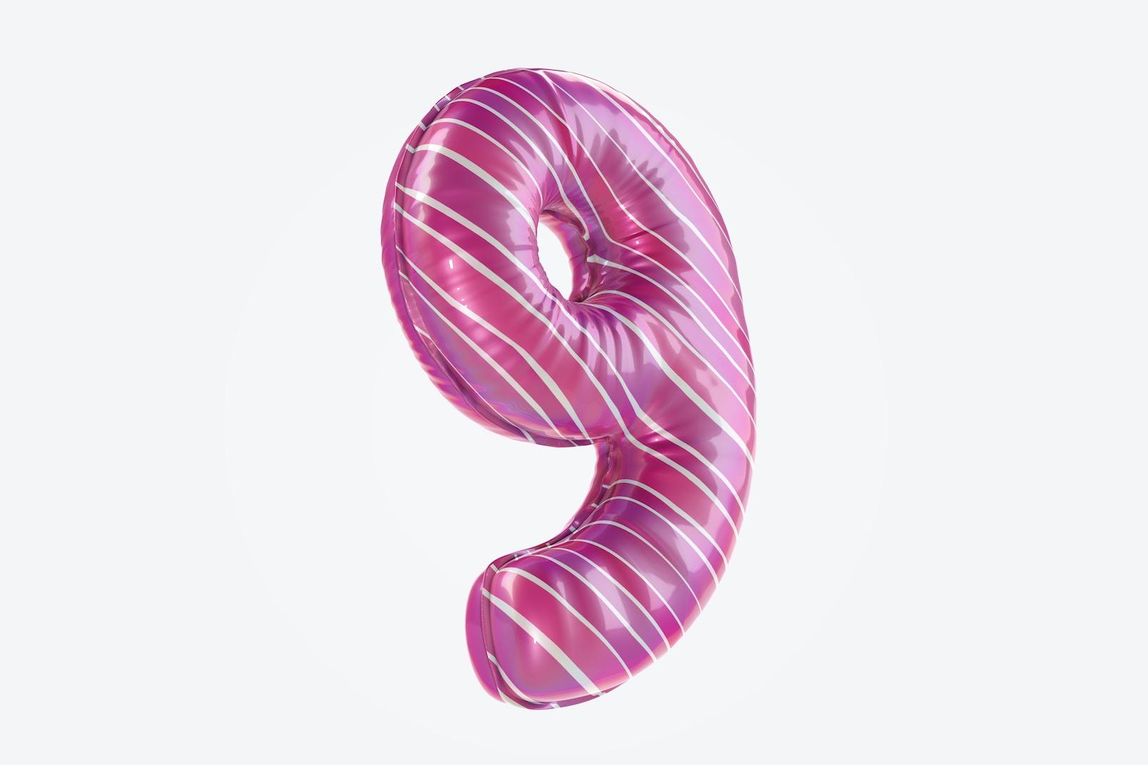 Number 9 Foil Balloon Mockup