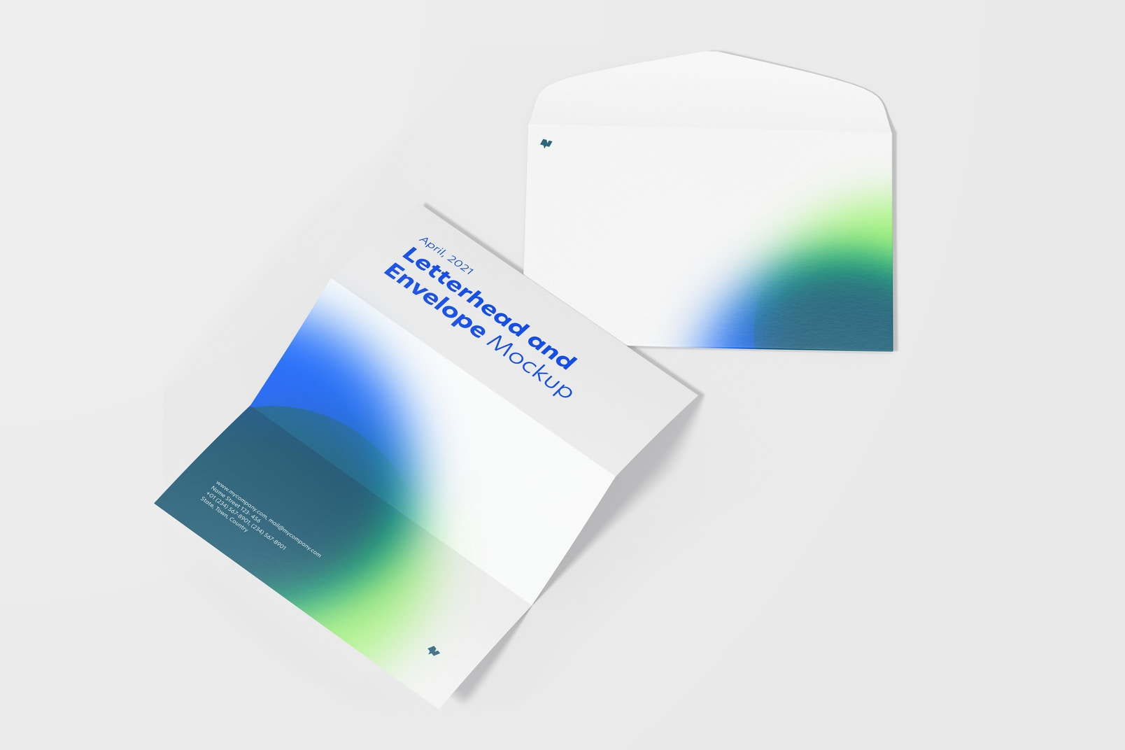 Unfolded Letterhead and Envelope Mockup
