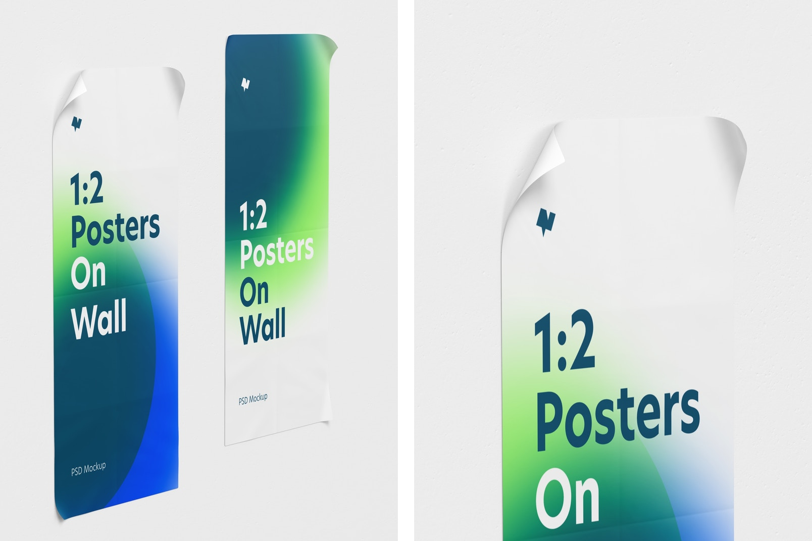 1:2 Poster on Wall Mockup, Left View