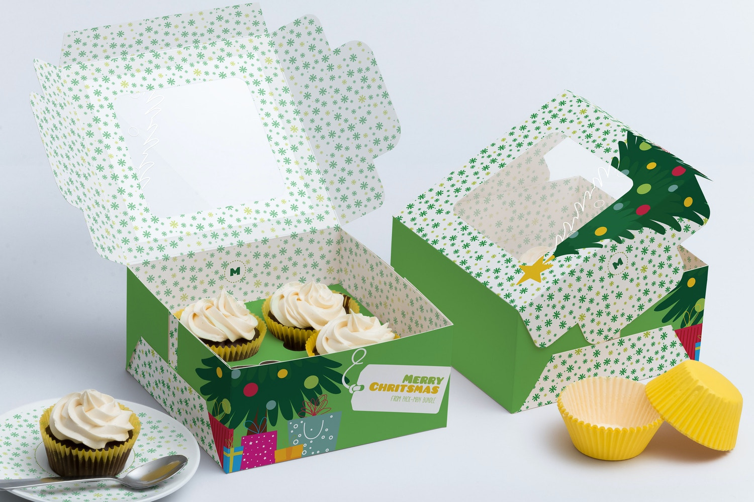 Four Cupcake Box Mockup 01 by Ktyellow  on Original Mockups