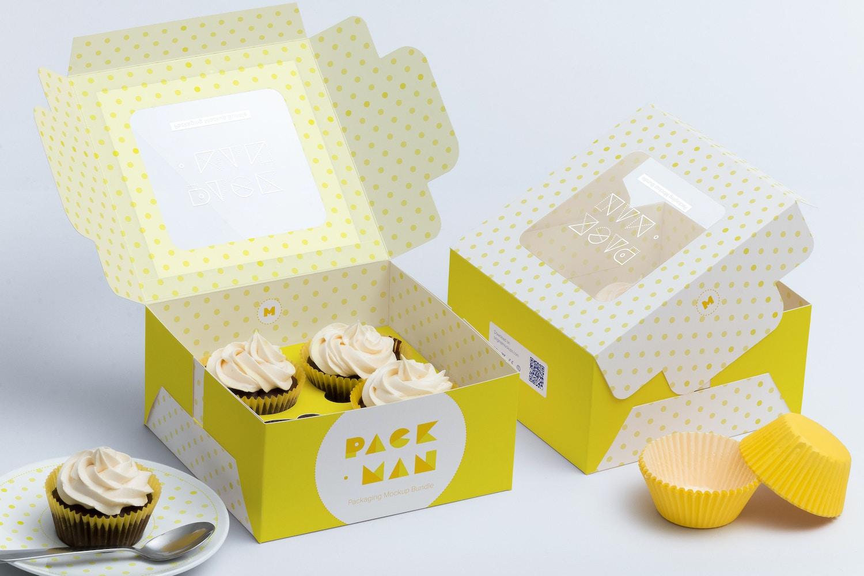 Four Cupcake Box Mockup 01