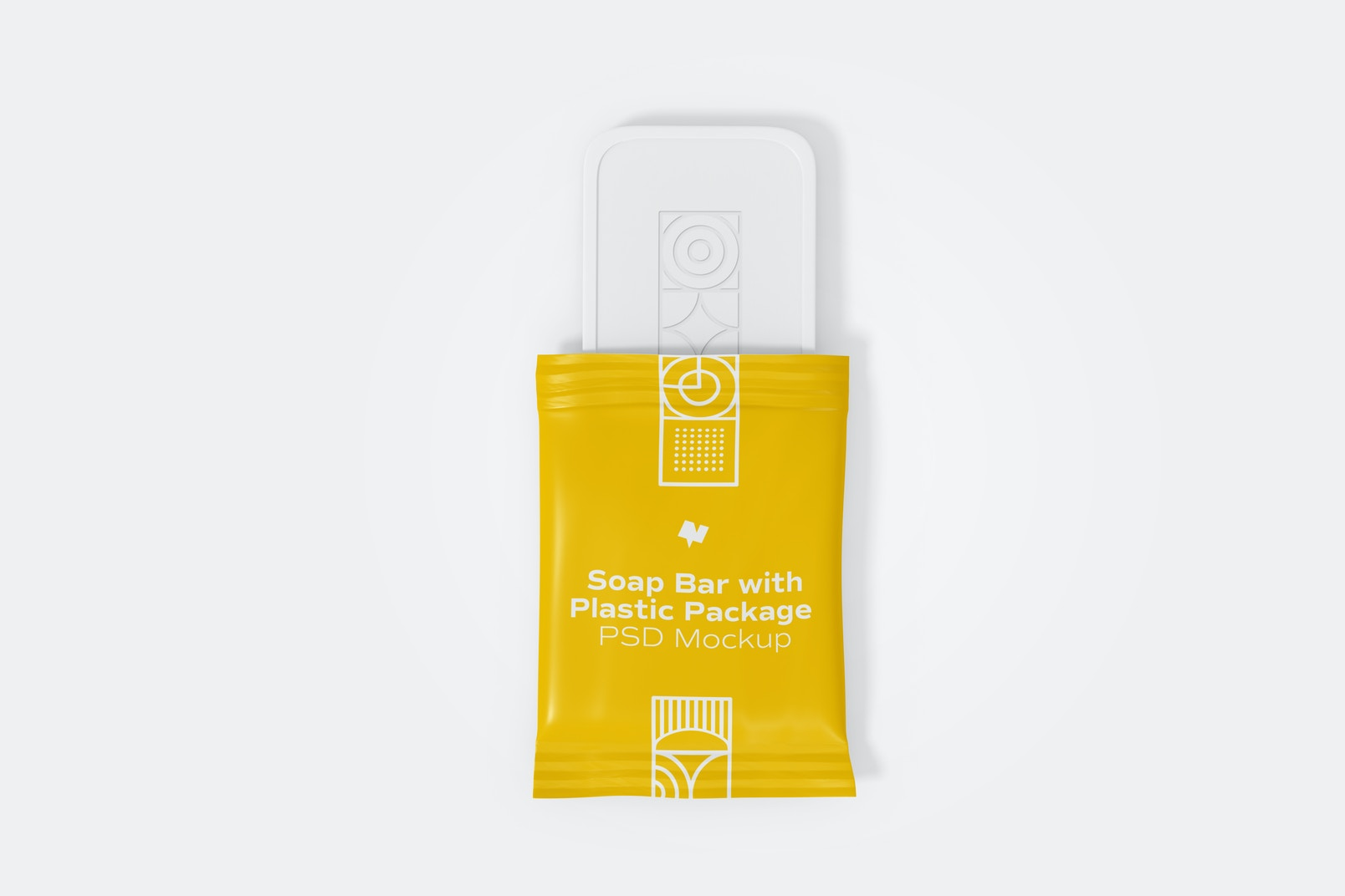 Soap Bar with Plastic Package Mockup, Opened