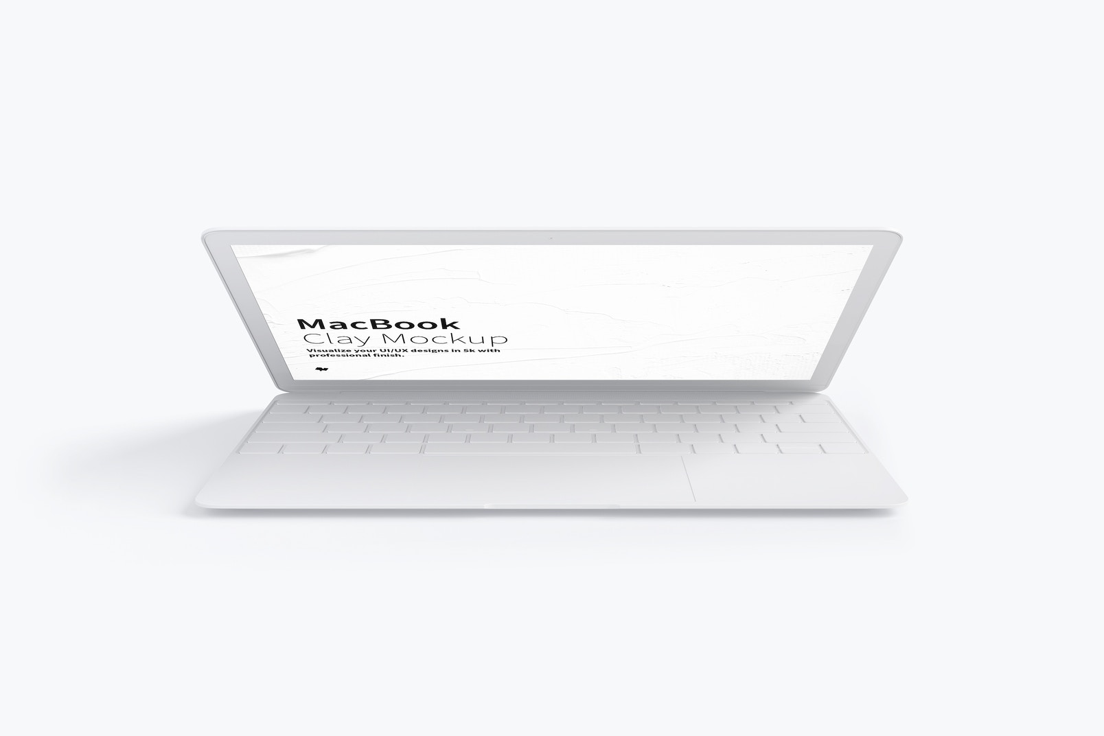 Clay MacBook Mockup, Front View 02