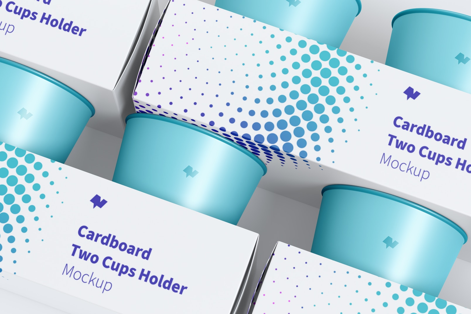 Maqueta de Juego de Portavasos de Cartón para 2 Vasos, Primer Plano