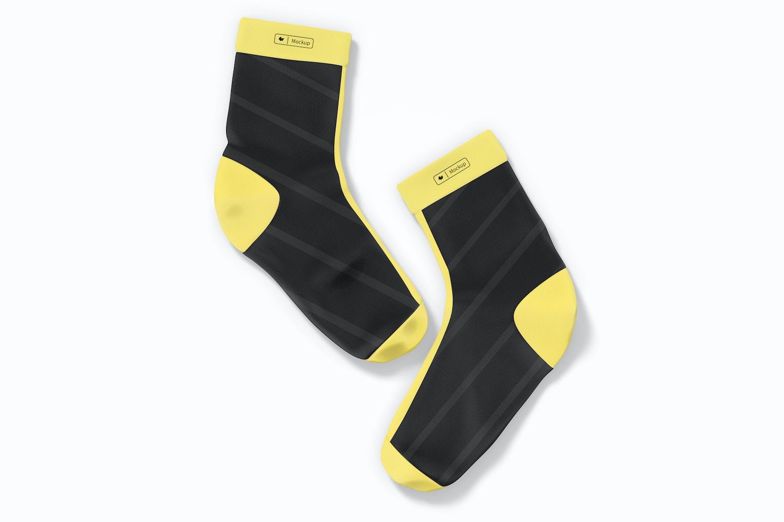 Sports Cycling Socks Mockup, Top View