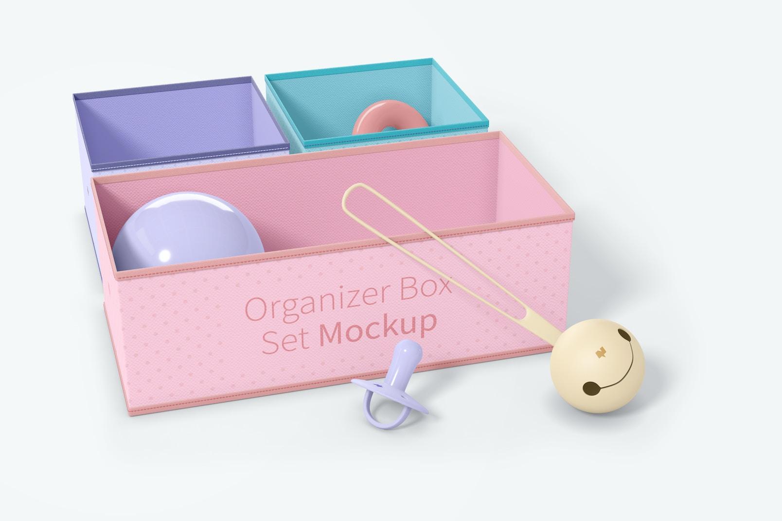 Fabric Organizer Box Set Mockup, Front View