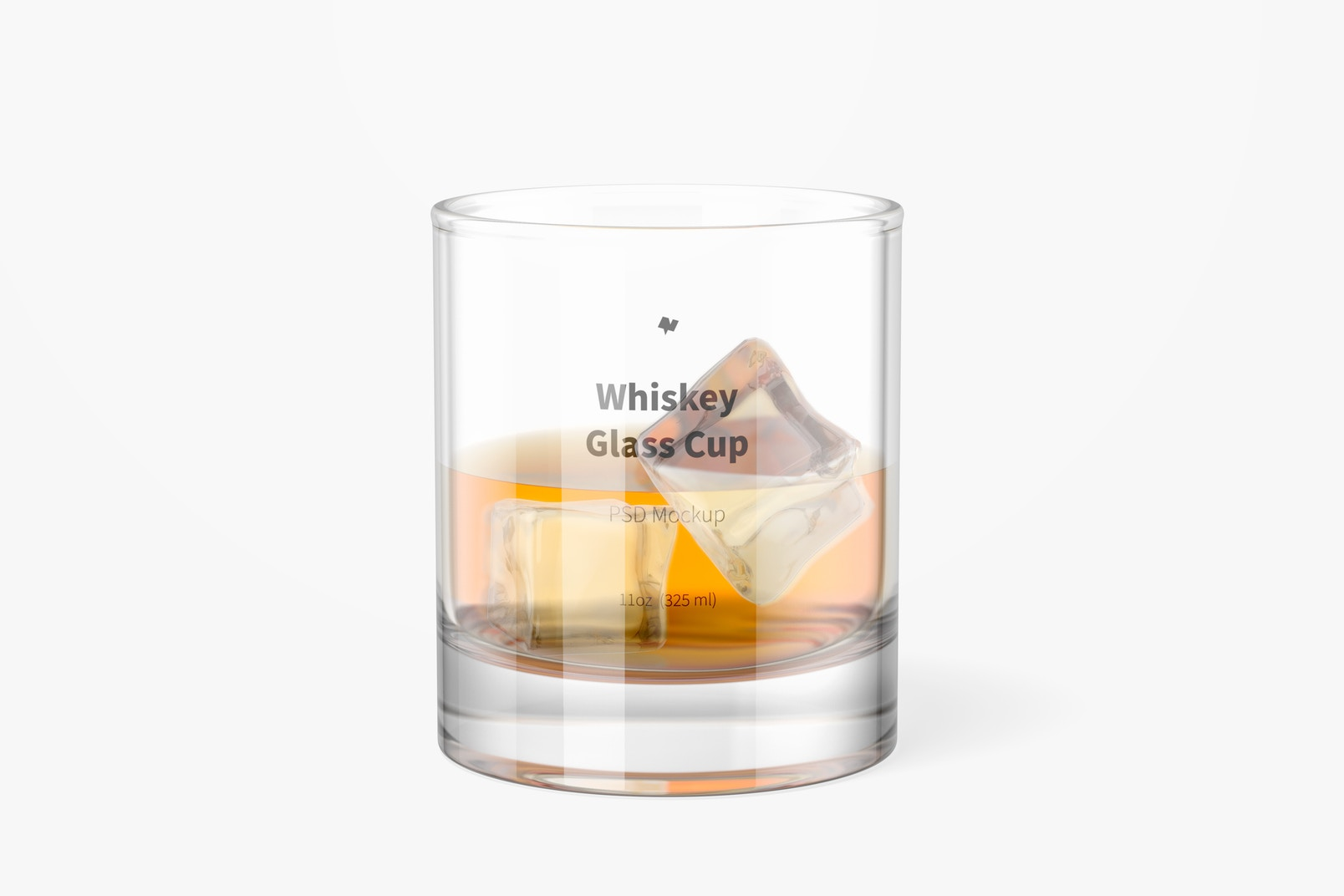 11 oz Whiskey Glass Cup Mockup, Front View