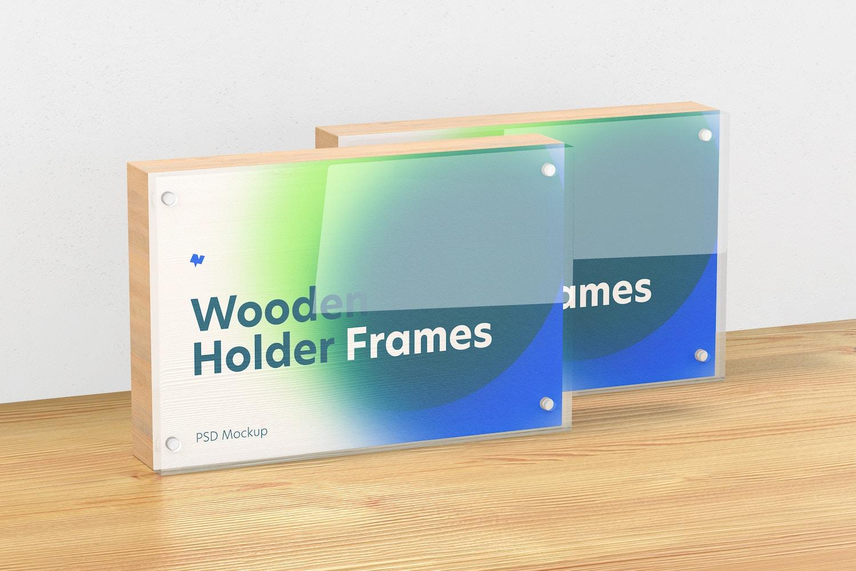 Wooden Label Holder Frames Mockup