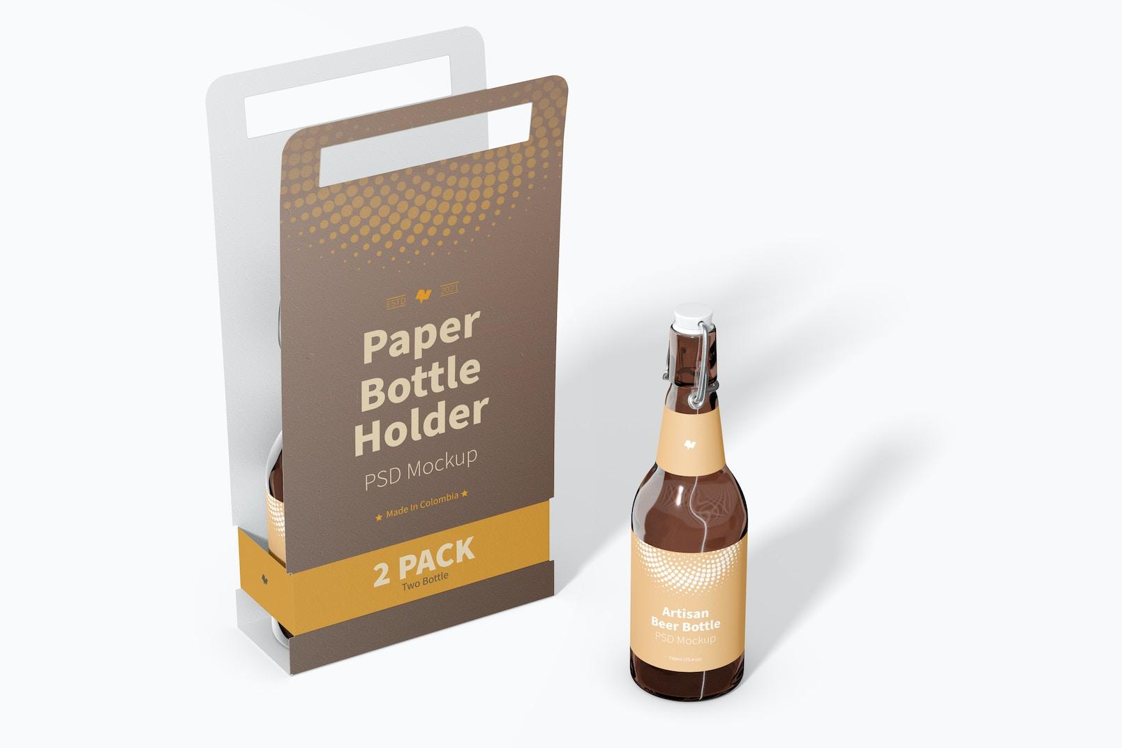 2 Pack Paper Bottle Holder Mockup, Perspective