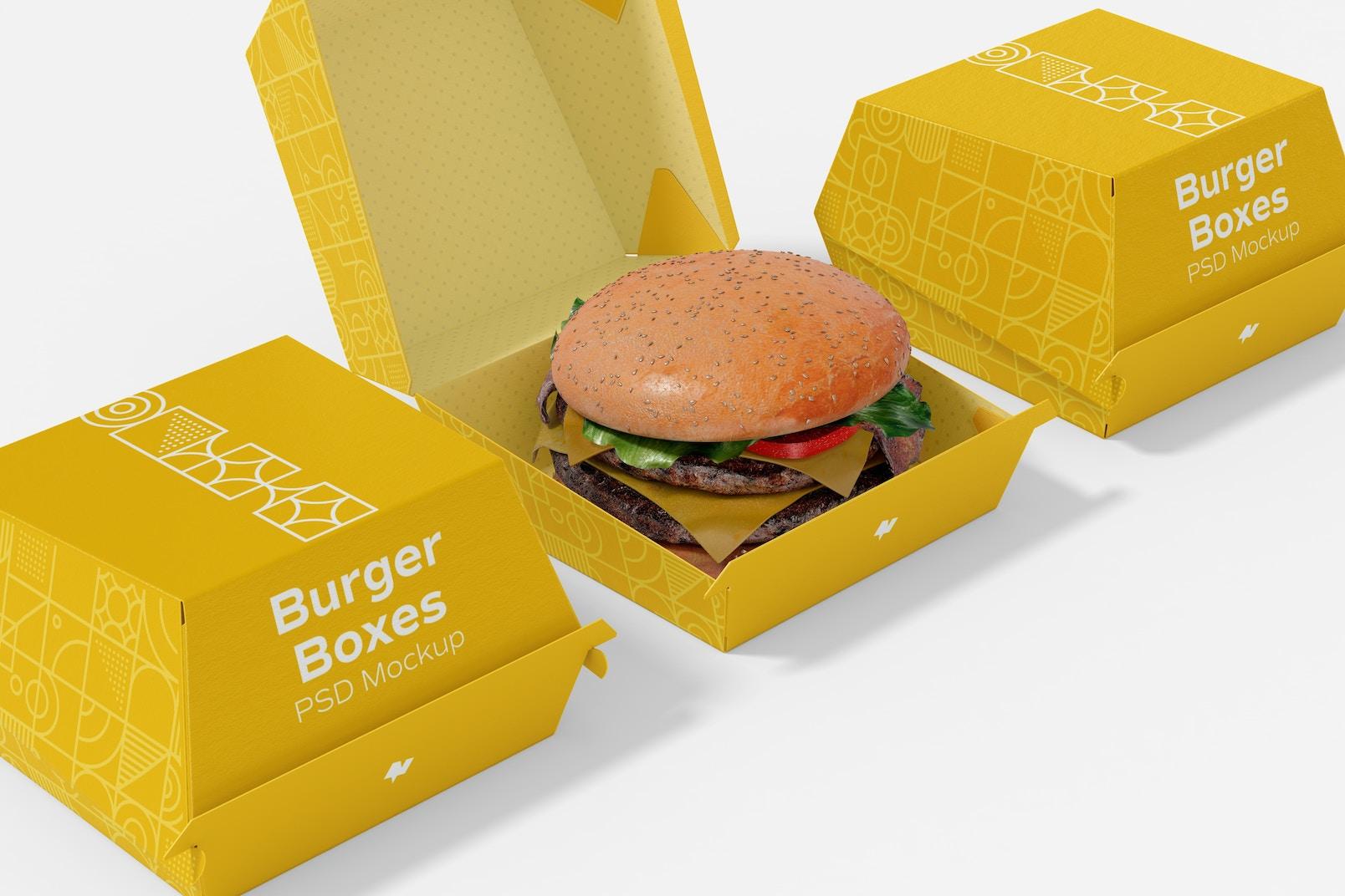 Burger Boxes Mockup, Close Up