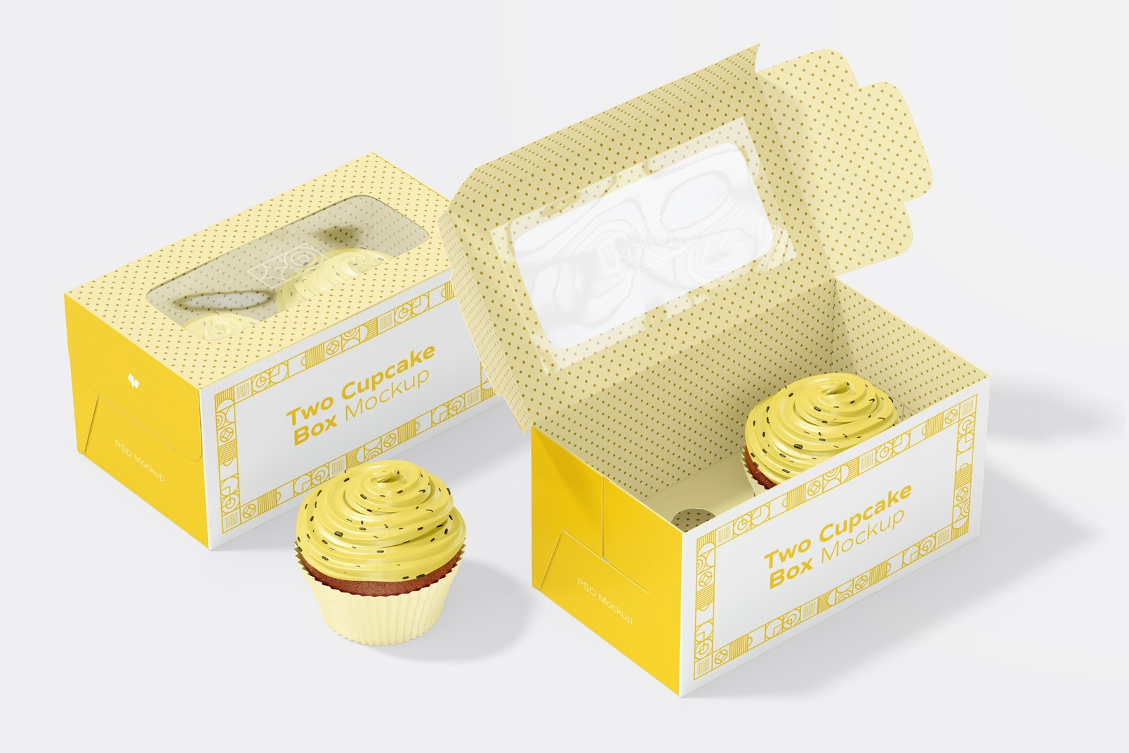 Two Cupcake Boxes Mockup, Open and Close