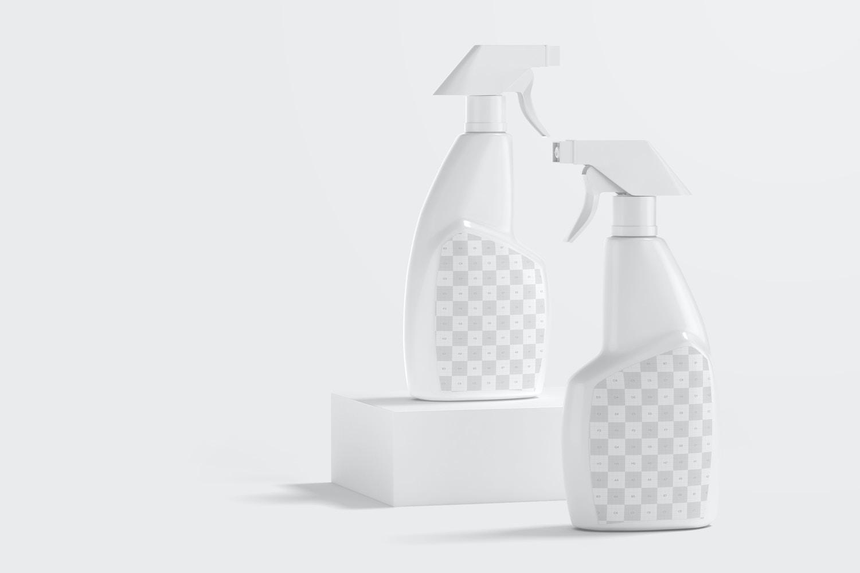Trigger Spray Bottles Mockup, Perspective