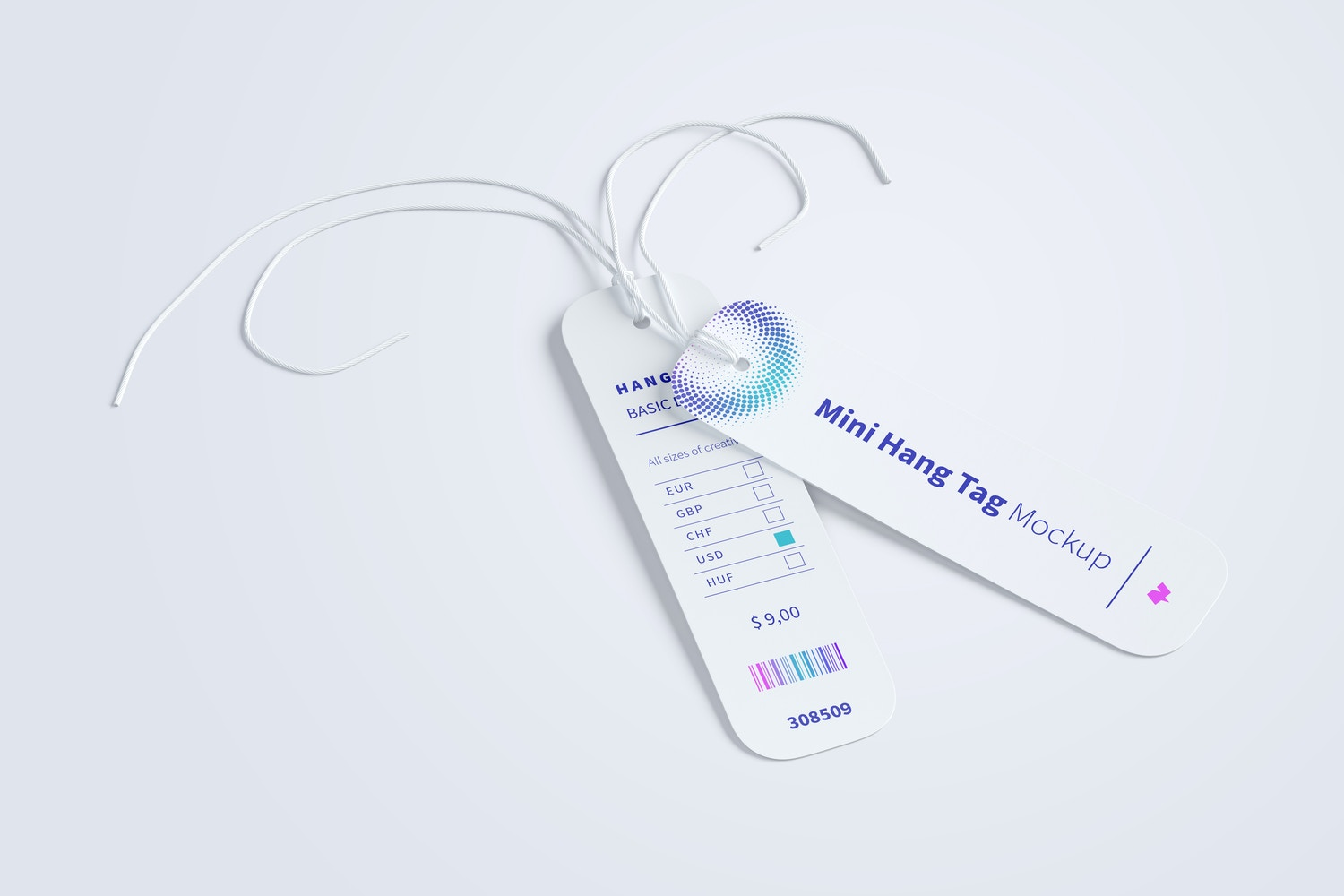 Mini Hang Tags Mockup with String, Two-sided 02