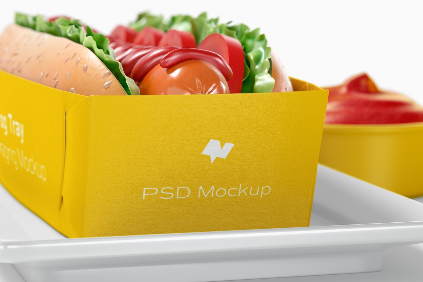 Hot Dog Tray Packaging Mockup, Close-Up