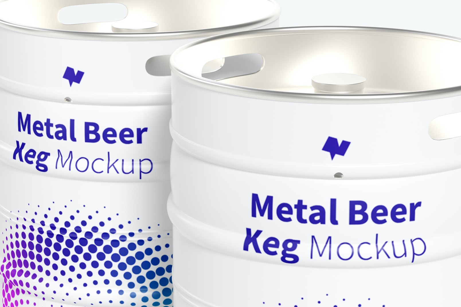 Metal Beer Kegs Mockup, Close-Up