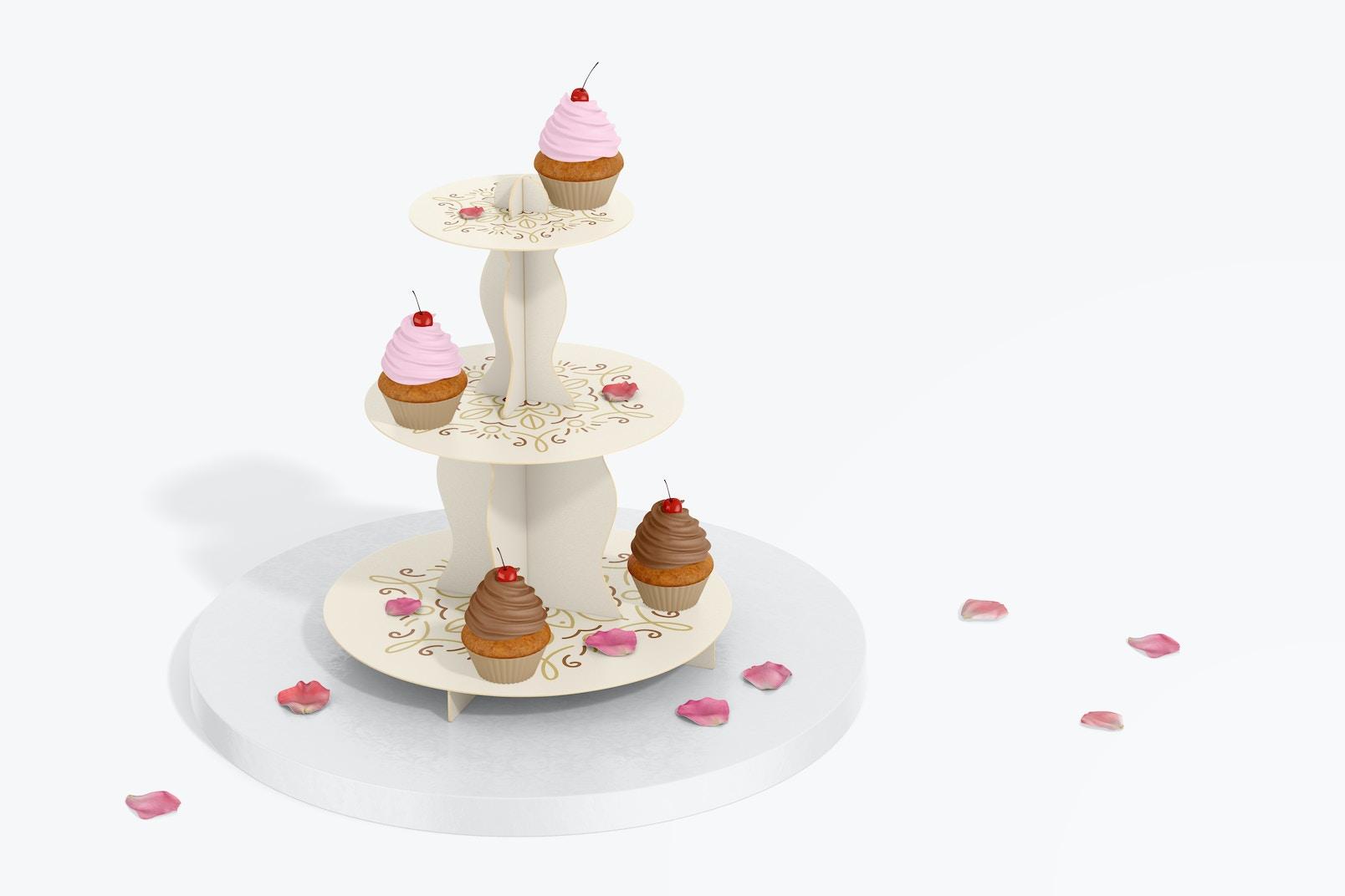 3-Tier Cardboard Cupcake Stand Mockup