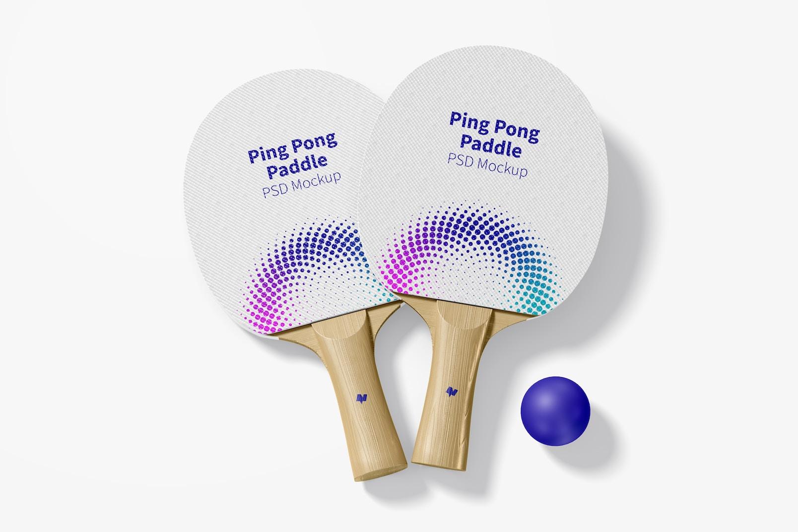 Ping Pong Paddles Mockup, Top View