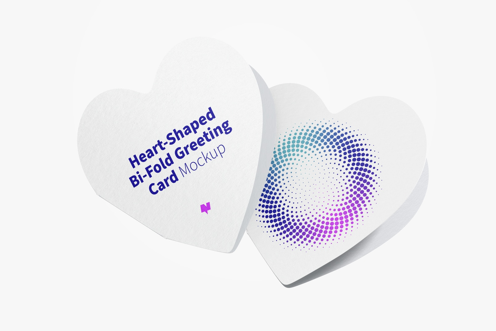 Heart-Shaped Bi-Fold Greeting Cards Mockup, Closed