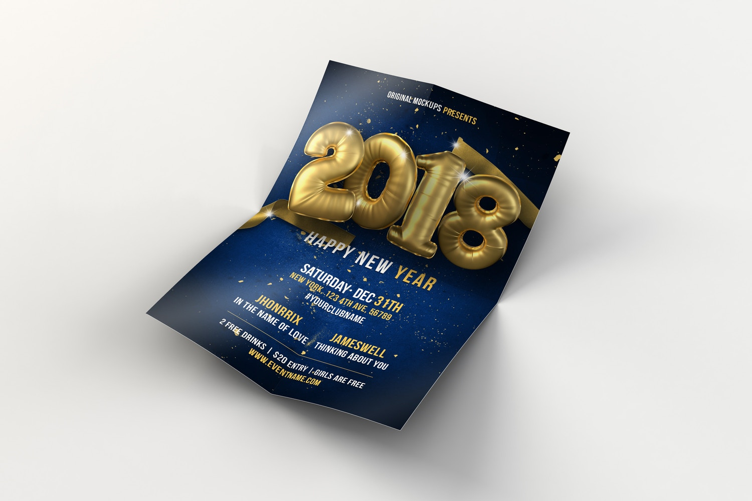 New Year Flyer - Poster 02 by Original Mockups on Original Mockups