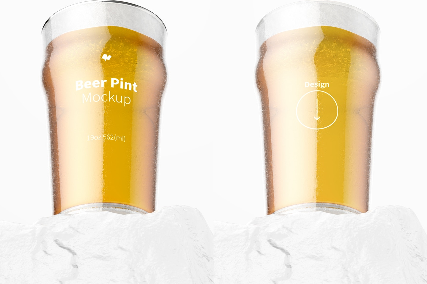 19 oz Beer Nonic Pint Glass Mockup, Bottom Front View