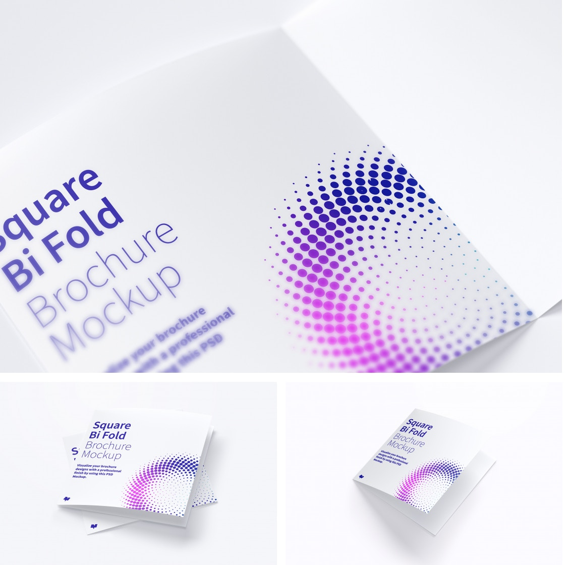 Square Bi Fold Brochure Mockups by Original Mockups on Original Mockups