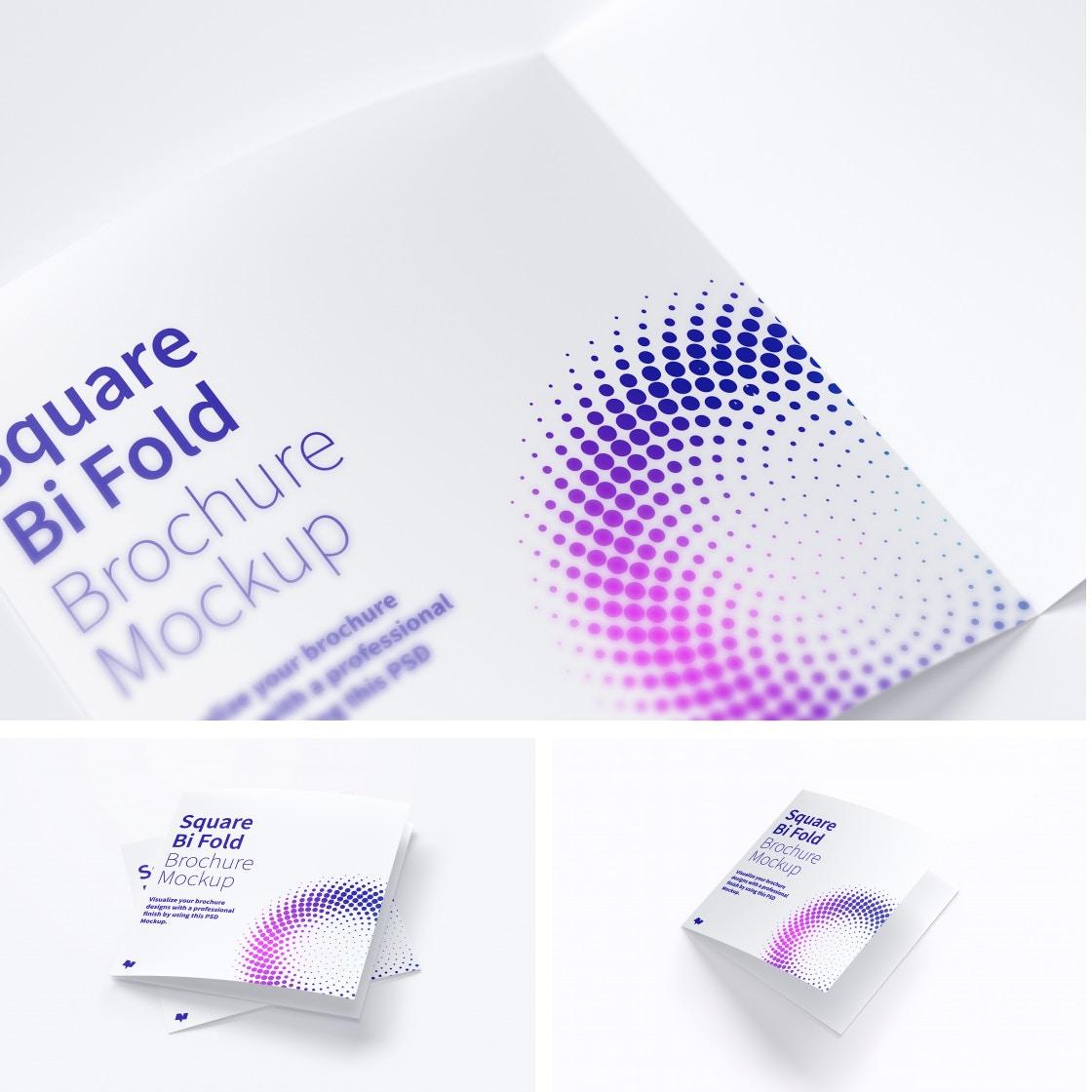 Square Bi Fold Brochure Mockups Poster