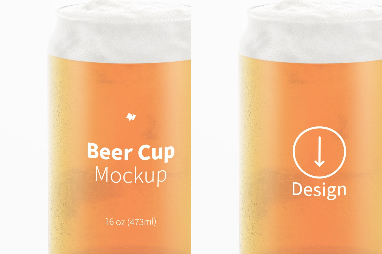 16 oz Glass Beer Cup Mockup, Close Up