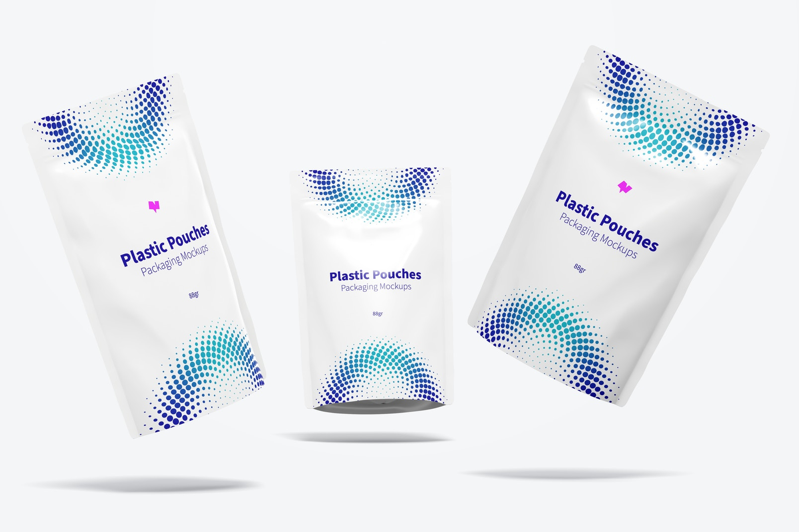 Plastic Pouches Packaging Mockup, Falling