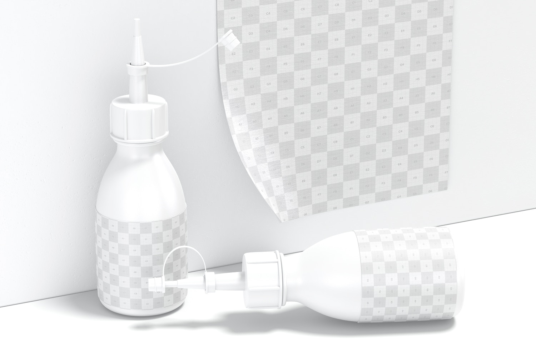 Silicon Glue Bottles Mockup