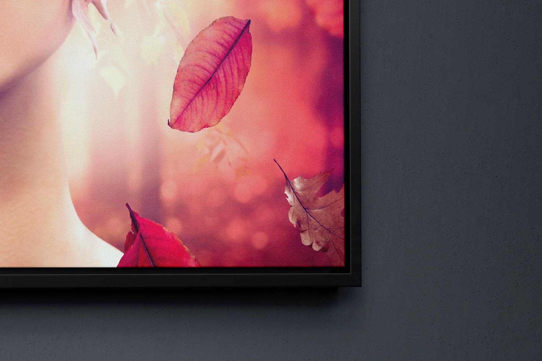 11:14 Portrait Canvas Mockup in Floater Frame, Left View
