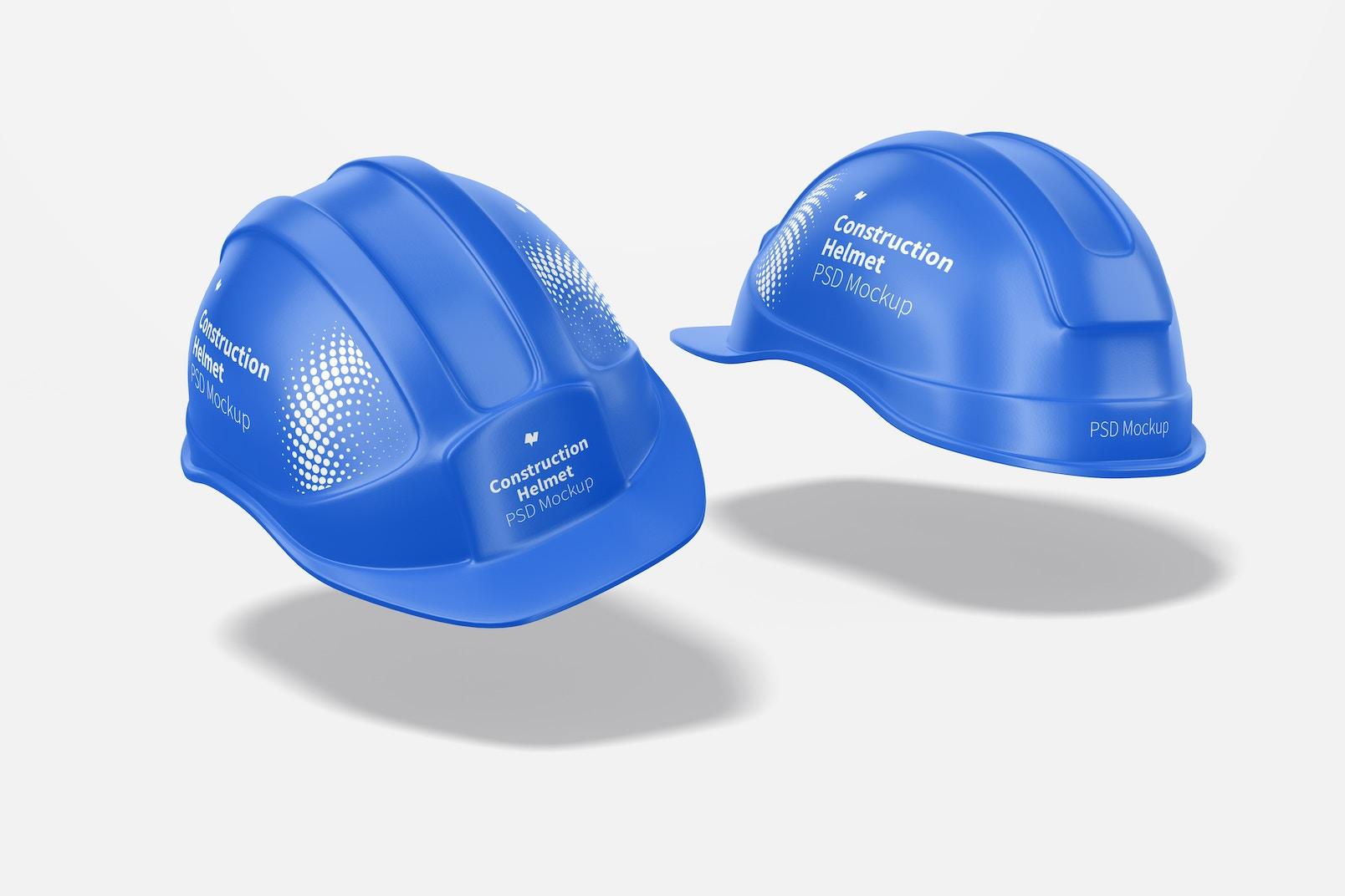 Construction Helmets Mockup, Floating