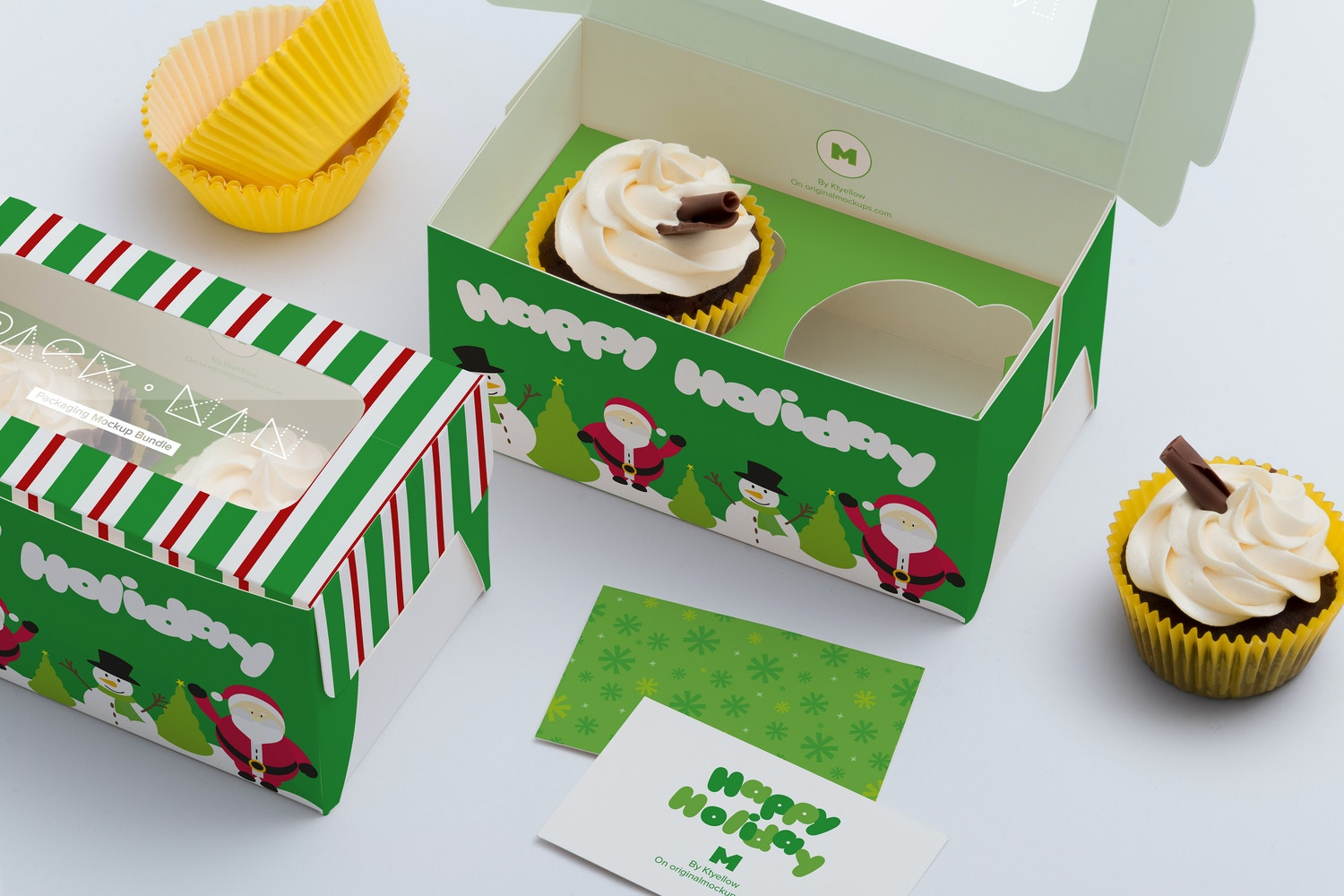 Two Cupcake Box Mockup 03 by Ktyellow  on Original Mockups