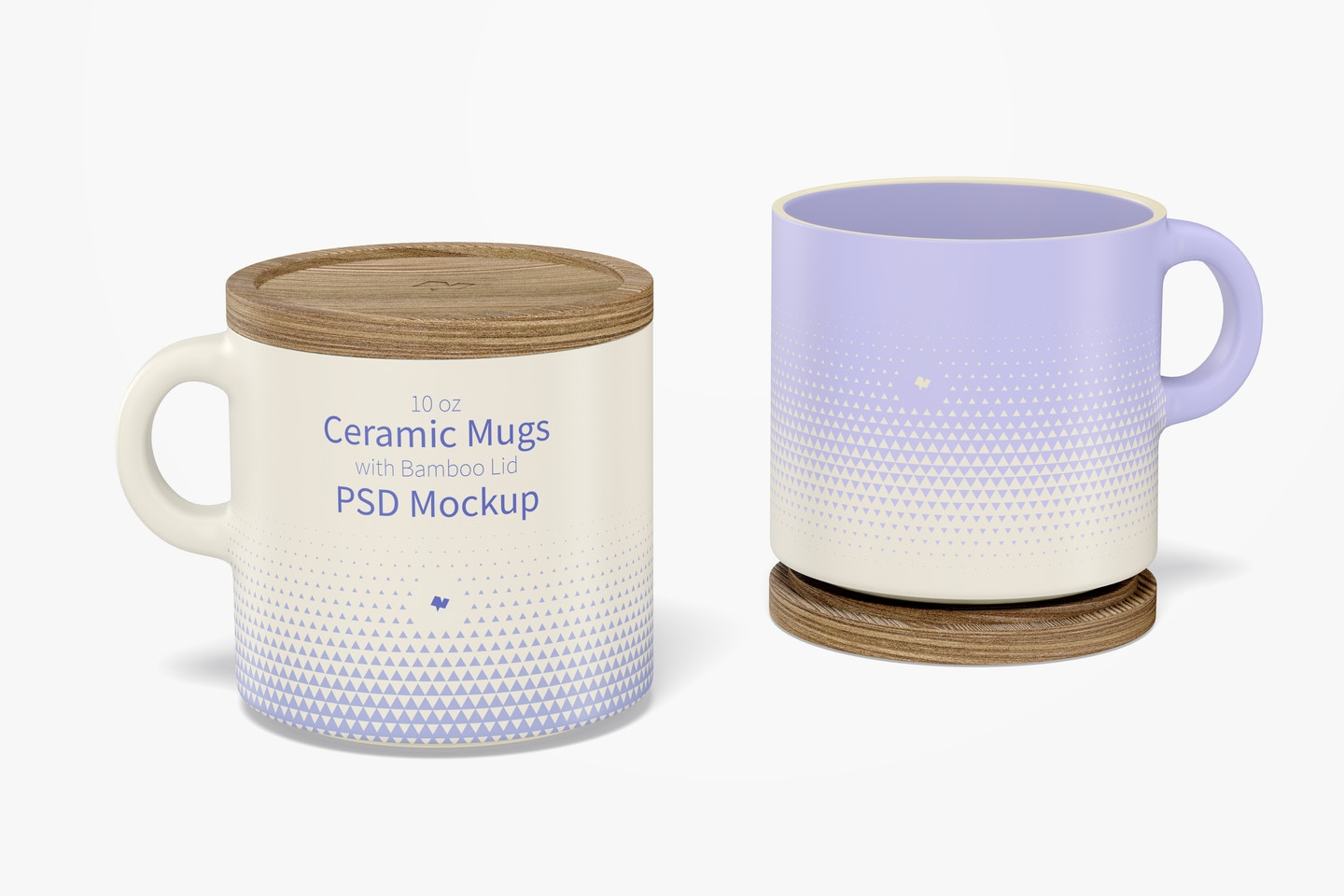10 oz Ceramic Mugs with Bamboo Lid Mockup, Opened and Closed