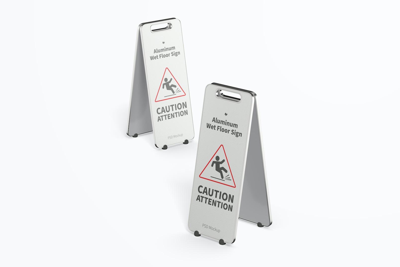 Aluminum Wet Floor Signs Mockup, Perspective